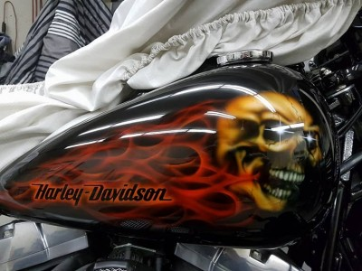 Airbrush by Maxart - Harley Davidson Cross Bones